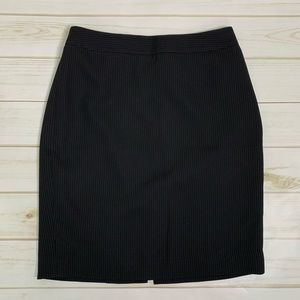 Pinstripe pencil skirt black grey Ann Taylor LOFT